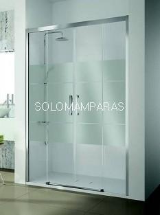 Mampara de ducha -Kassandra- serie 400 (CU100) 2 fijas + 2 correderas, serigrafia Clio (Antical Easy Clean)
