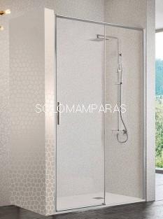 Mampara de ducha -Kassandra- Masela (MS102) (1 fija + 1 corredera) 6mm con perfileria plata alto brillo (antical)