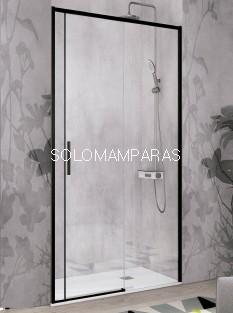 Mampara de ducha -Kassandra- Masela (MS102) (1 fija + 1 corredera) 6mm con perfileria negra (antical)