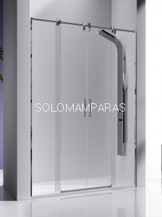 Mampara de ducha -Kassandra- Slim (LM100) (2 fijas + 2 correderas) 8 mm y acero inox (antical)