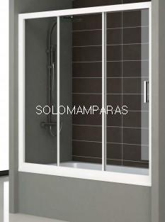 Mampara Bañera Nantes, Blanco/Transparente, (1 fija + 2 correderas)
