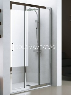 Mampara de ducha Nantes (Cromo/Transparente), 1 fija + 2 correderas