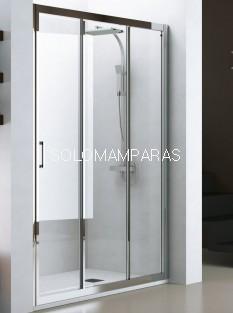 Mampara de ducha Nantes (Cromo/Transparente), 1 fija + 2 correderas antical incluido