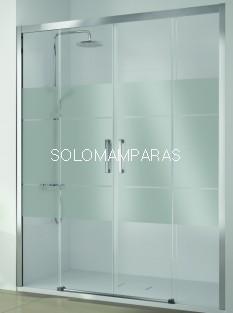 Mampara de ducha Kassandra, serie 400 (CU100) serigrafia Clio (antical EASY CLEAN), 2 fijas + 2 correderas