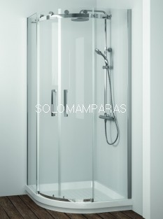 Mampara de -Kassandra- semicircular Liberty (LI130) acero Inox, 8 mm (antical Easy Clean)