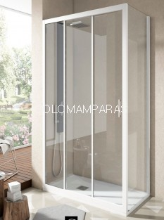 Mampara Ducha Nantes, Perfil Blanco, (1Fija, 2 correderas + Lateral Fijo) Transparente antical incluido