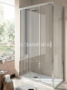 Mampara Ducha Nantes, Perfil Cromo, (1Fija, 2 correderas + Lateral Fijo) Transparente antical incluido