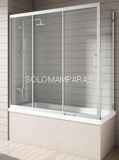 Mampara bañera Nantes, Cromo/Transparente (1fija, 2correderas + Lateral Fijo)