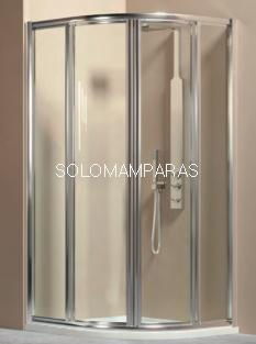 Mampara de ducha semicircular Orión en vidrio templado y acrílico