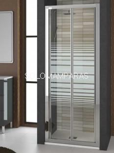 Frontal de ducha plegable Burdeos de Torvisco, cromo rayas antical incluido