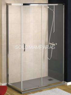 Mampara de ducha Niza (1 fija + 1 corredera + 1 lateral fijo) transparente