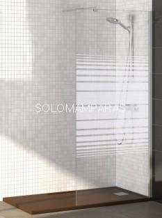 Mampara Rimini (Fijo de ducha) Cromo 6mm Transparente o Serigrafía antical incluido