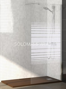 Mampara Rimini (Fijo de ducha) Cromo 6mm Transparente o Serigrafía