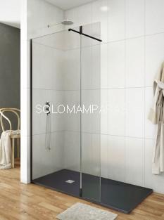 Mampara de ducha Screen 35 Black -GME- (1 fijo + 1 abatible) bisagra 180º con brazo sujeción