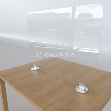 Mampara para mostrador vidrio 6mm con soportes Acero Protek 2000