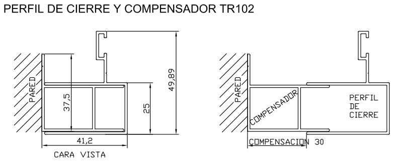 Perfil de cierre y compensador tr102