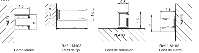 detalle tecnico mampara slim kassandra
