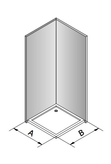 Esquema descritivo para medición de mampara angular, en esquina