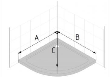 Este esquema muestra cómo medir los lados de un plato semicircular y su diagonal para posteriormente conocer su radio