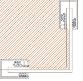 El montaje de la mampara en los platos a nivel del suelo debe de hacerse de tal manera que los fijos caigan justo en la separación entre el plato y el suelo del baño
