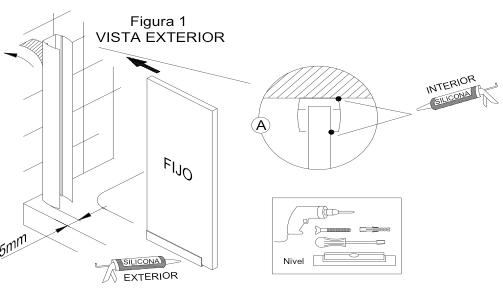 Figura que explica la instalación del perfil a la pared