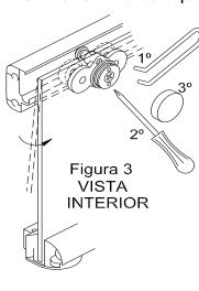Figura que explica cómo colgar la hoja corredera sobre la guía superior