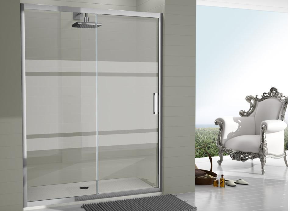 Mampara corredera moderna y minimalista con cristal templado de seguridad