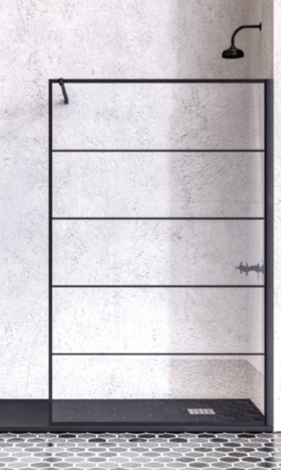Mampara fija de duchca con perfilería en negro de estilo industrial