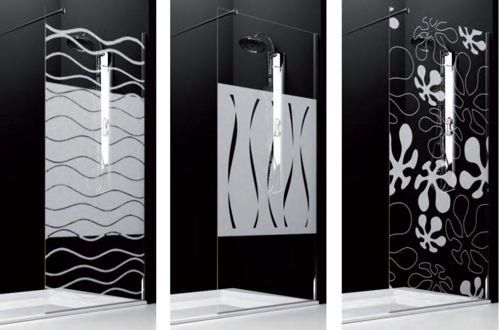 Tres diseños de serigrafías por arenado de la firma Hidroglass