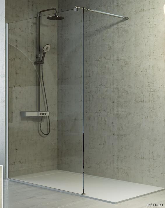 Mampara de ducha fija con brazo a pared