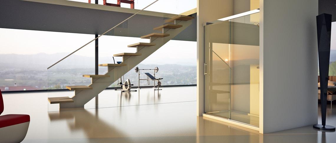 Frontal de ducha Edén de Hidroglass con una hoja fija y otra corredera transparentes