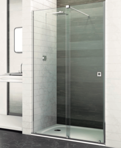 Mampara frontal de ducha London de acero y vidrio templado