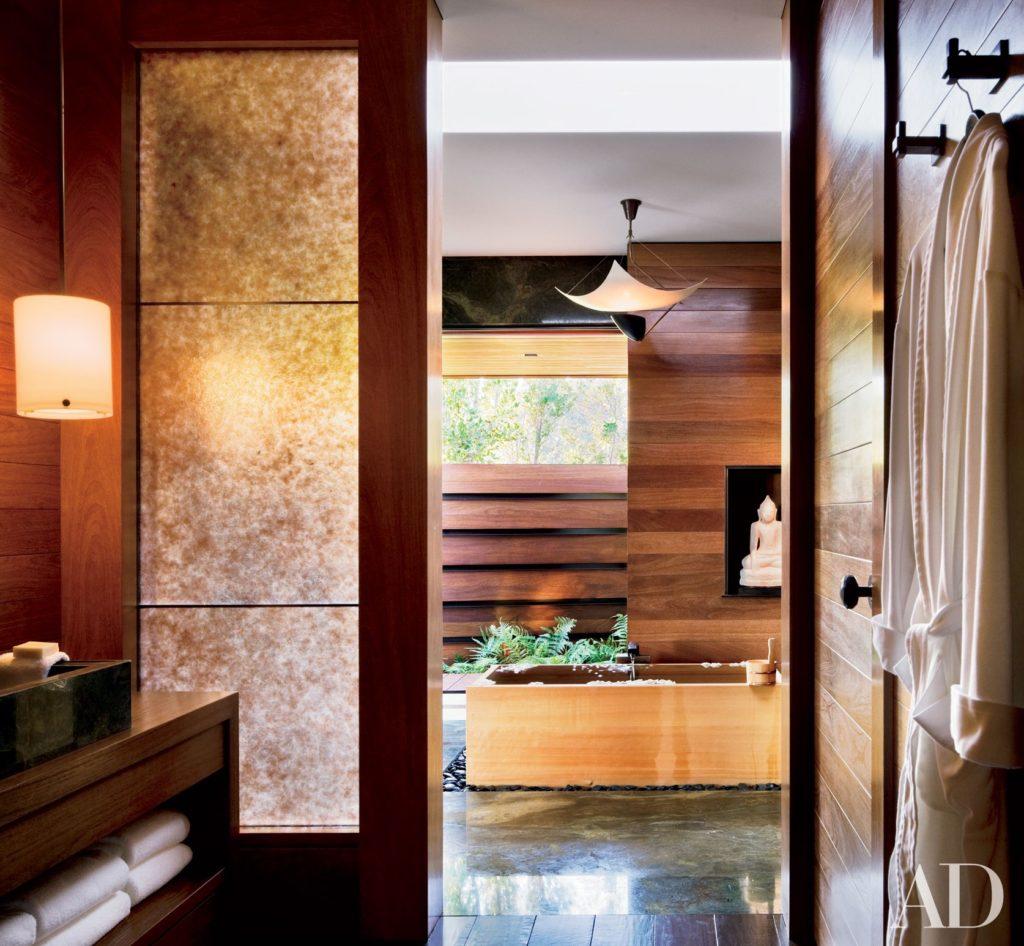 baño de estilo zen de jennifer aniston