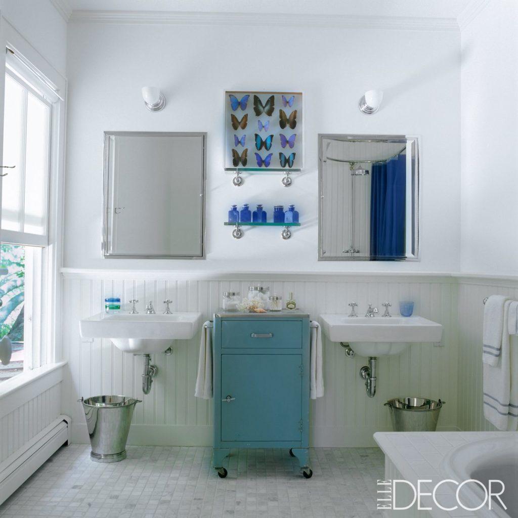 El discreto baño en blanco y azul de Sarah Jessica Parker