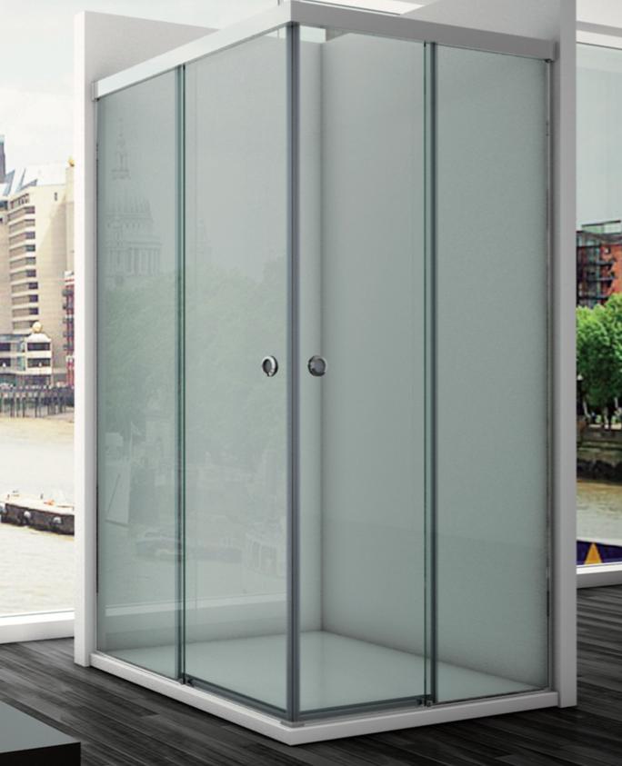 Angular de ducha minimalista y con cristales transparentes