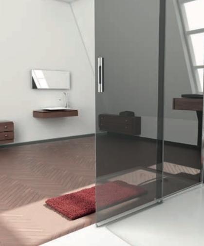 Mampara de ducha con vidrio efecto espejo