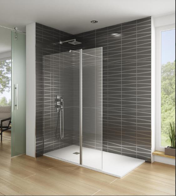 Mampara fija de ducha de acceso abierto por el lado