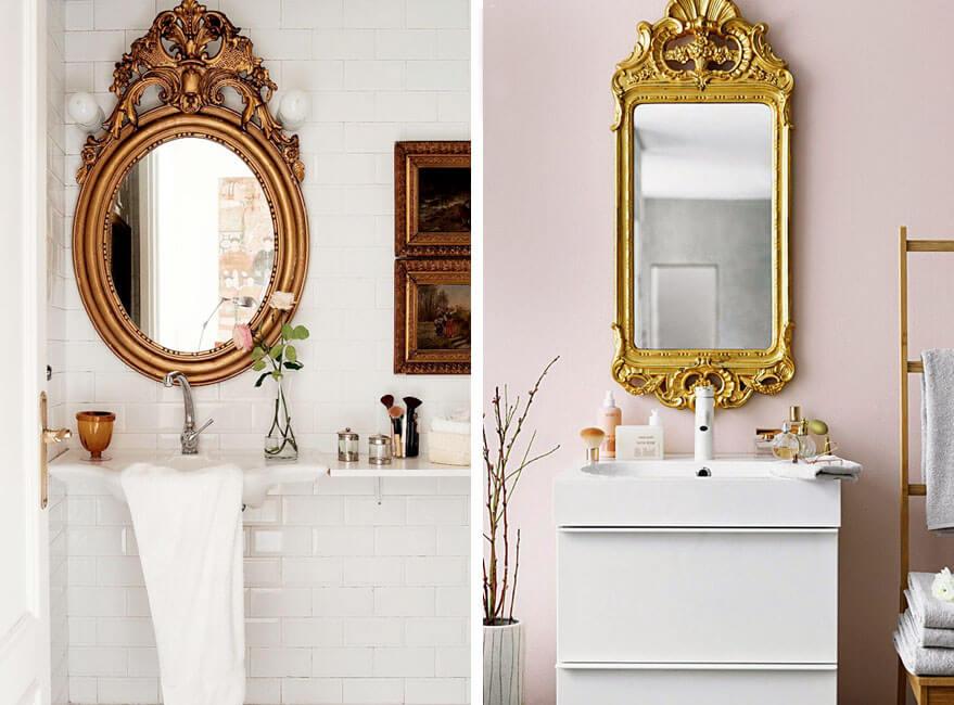 Dos modelos de espejos vintage en el baño