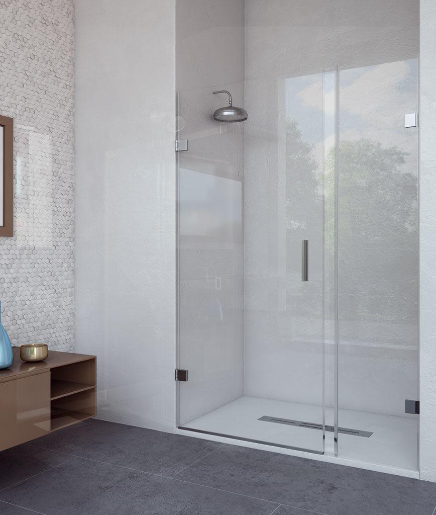 Mampara frontal de ducha abatible sin apenas perfilería