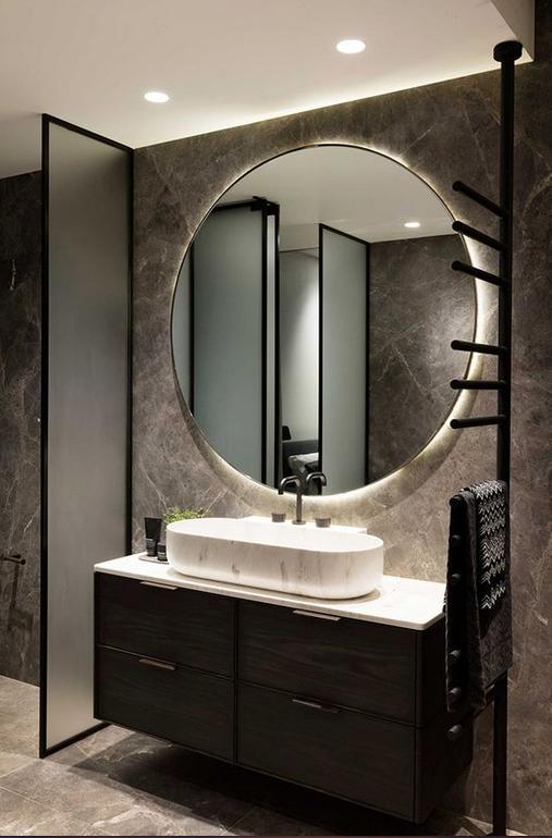 espejo redondo grande retro iluminado