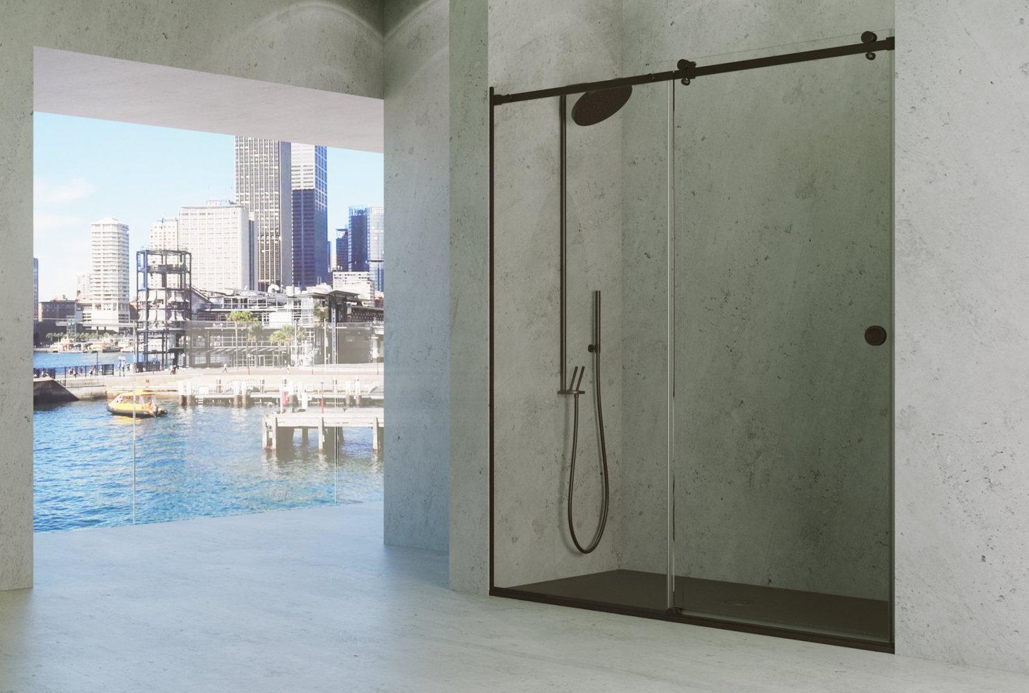 Mampara de ducha de perfil negro en acero pulido