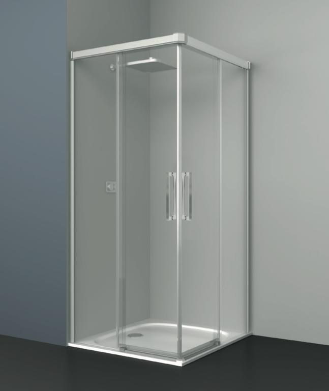 Mampara de ducha de tipo angular de cristal transparente