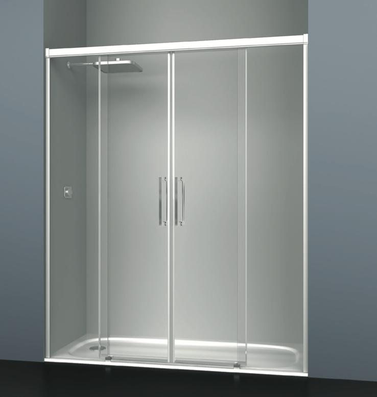 Mampara de ducha frontal de cuatro cristales transparentes