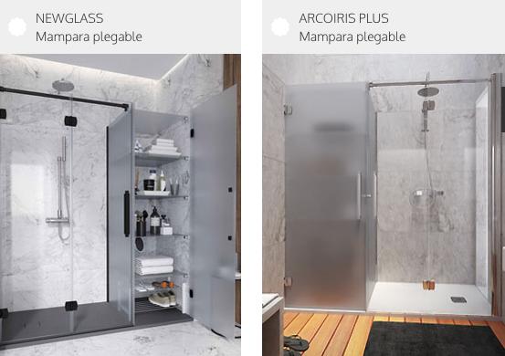 Mamparas de ducha con espacio de almacenaje anexo