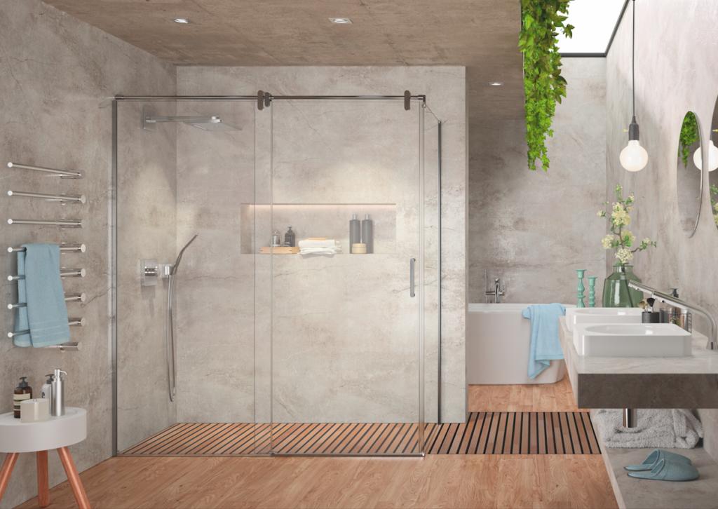 Frontal de ducha minimalista con poca perfilería y con lateral de cristal