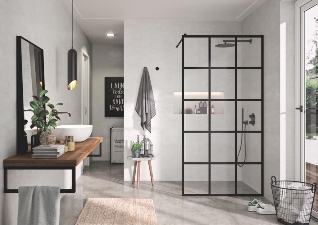 Mampara de ducha fija abierta con perfiles en negro