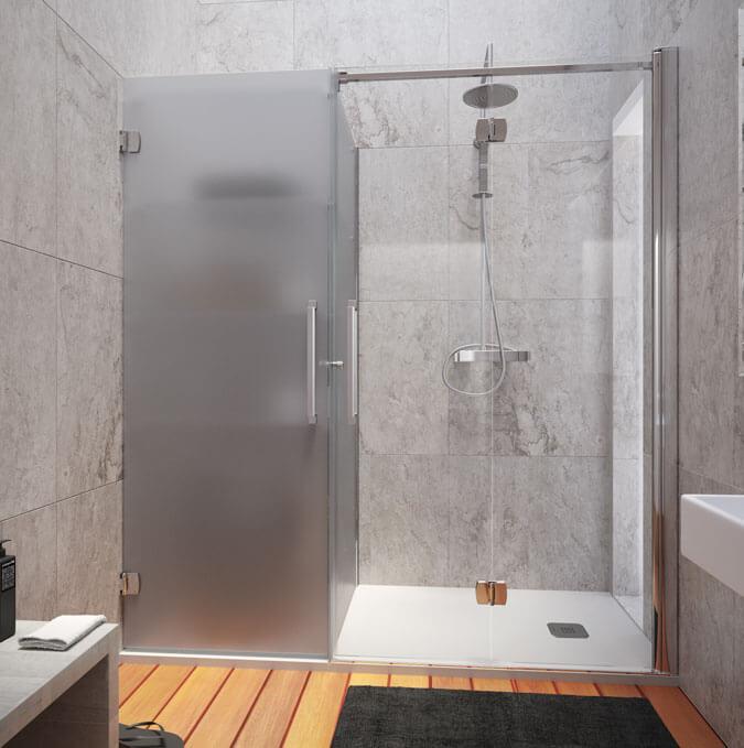 Mampara de ducha y armario con puerta sistema Konvert
