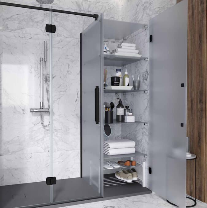 Mampara de ducha industrial sistema Konvert con armario