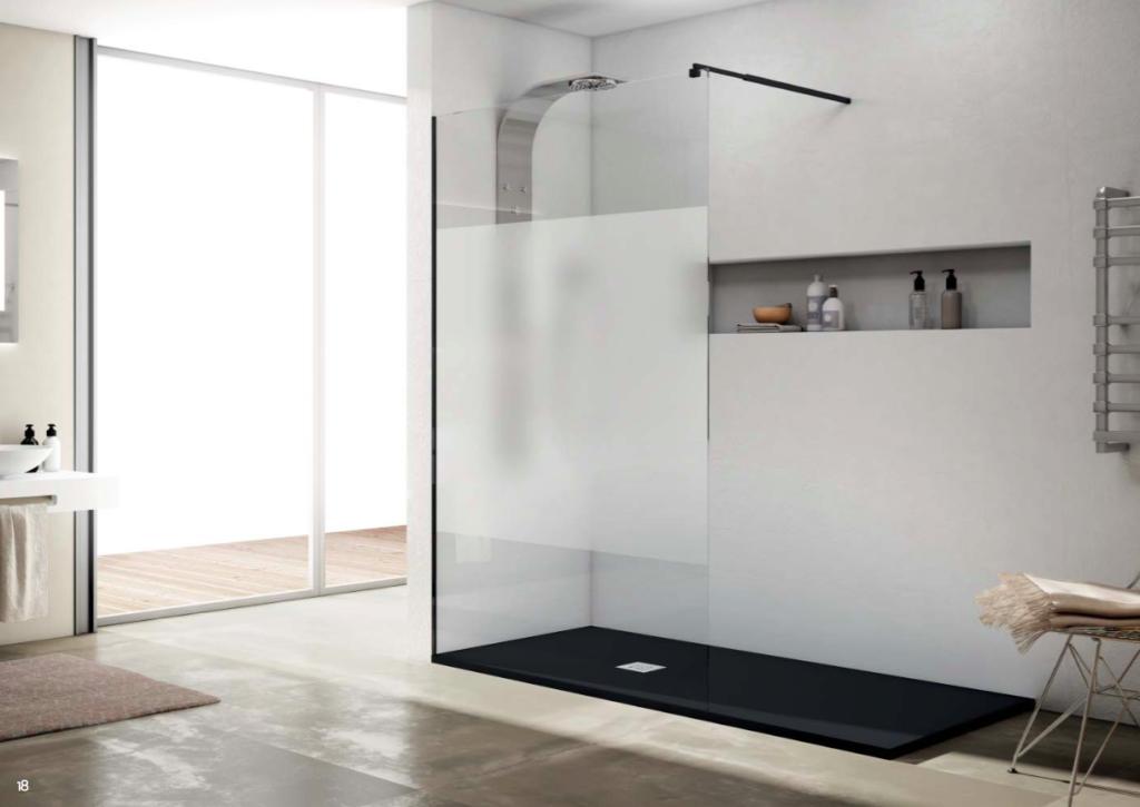 Cristal fijo para ducha Rimini con brazo extensible negro
