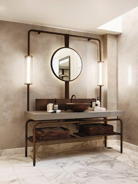 Tocador de baño de estilo industrial con estructura de metal